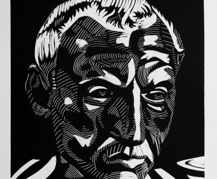Caesar, linocut, 40x30 cm, edition of 12, 2017