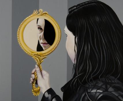 Mirror (after Utamaro), oil on canvas 100x80 cm, 2017