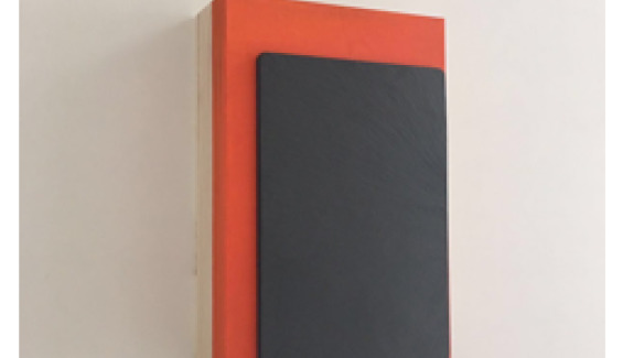 Orange (Triptych), 18.7 x 12.8 x 3.5 cm (2017) Acrylic and slate board on handmade Japanese wooden boxCover
