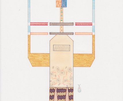 Amba Sayal-Bennett, Kiln, 2017. Ink, pro-marker, graphite on paper, 21x14.8cm.Courtesy, Carbon 12. Copyright, the artist