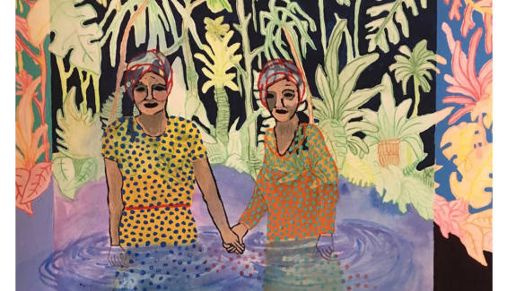 Katrina Jurjans, sleepwalking (we've been here before) acrylic on paper 20x28, 2017
