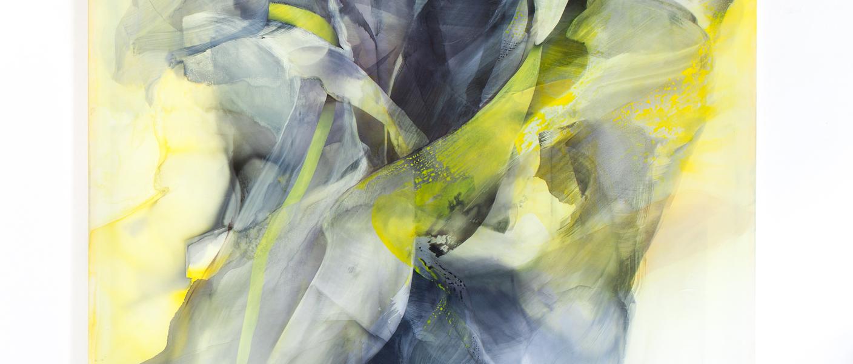 © Natascha Schmitten, Bitte oszillieren Sie, 250 x 200 cm, ink, oil on nylon, 2018