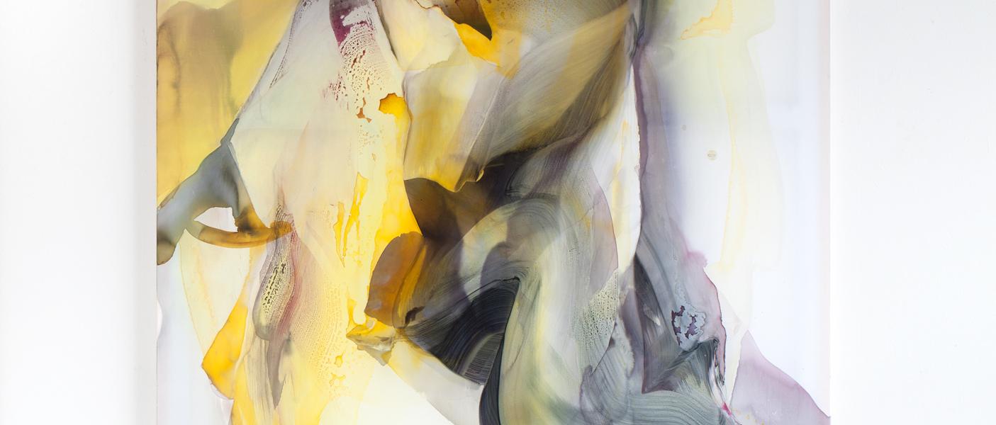 © Natascha Schmitten, Oscillatio I, 170 x 130 cm, ink, oil on nylon, 2018