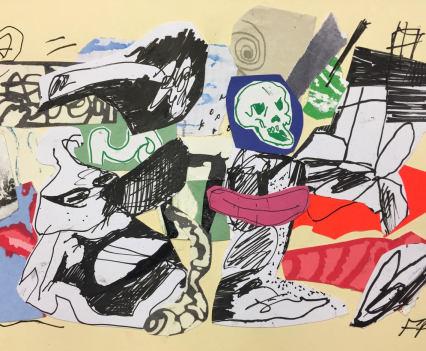 Fergus Polglase, collage 'bleh' a4, 2018