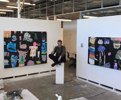 Fergus Polglase next to grapes in my shoes and totem, 2018