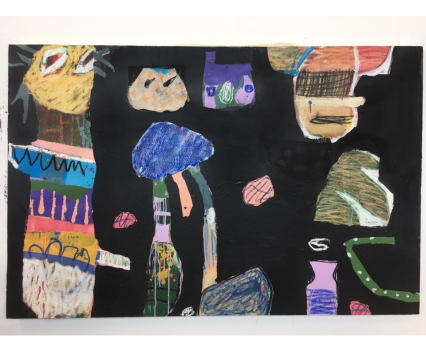 Fergus Polglase, totem - Acrylic, collage, spray paint, oil pastel, oil bar and charcoal on canvas. 1m x 1.5m, 2018