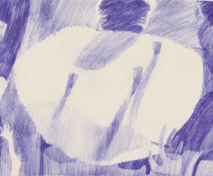 Cross Shadows, Biro on Paper,14.8cm x 21cm, 2018