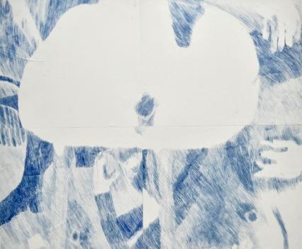 Softer Are Yoghurt Pots, 98cm x 110cm, Carbon Transfer onto Newsprint Paper