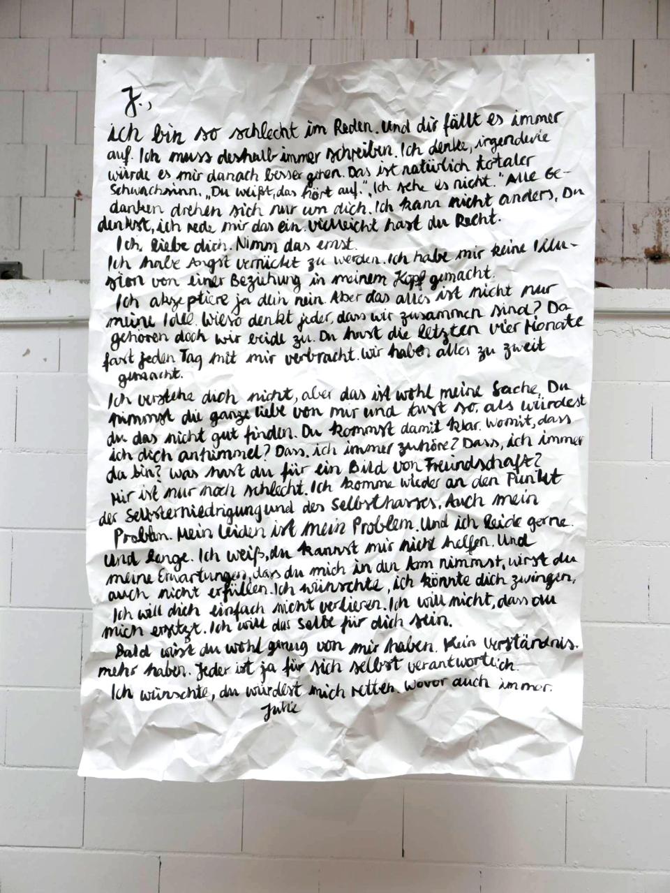 © Julie Legouez, Nicht abgeschickter Brief II, 2016, 200 x 140 cm